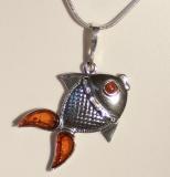 Bernstein-Fisch 925 Silber